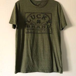 Lucky Brand Khaki Green Clover Graphic T Shirt M